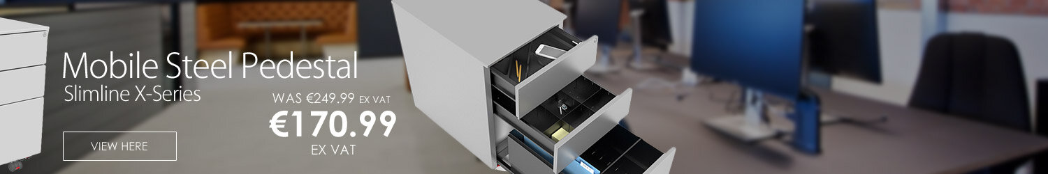 Slimline Mobile Steel Pedestal With 2 Stationery & 1 Filing Drawer 300mm Wide Silver Kito X-Series
