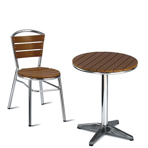 Round Outdoor Patio Table Slatted Teak, Round Wooden Garden Table And Chairs Ireland