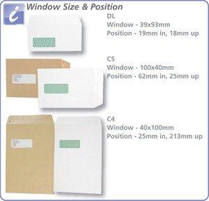 Postmaster C5 White Envelopes Wallet Gummed High Window 90gsm Pack 500 Additional Image 1