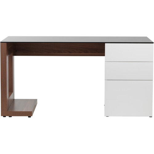 Alphason Sorbonne Desk Walnut with Black Tempered Glass Worktop & White 3 Drawer Pedestal W1500xD700xH720mm Additional Image 2