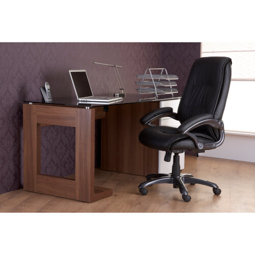 Alphason Sorbonne Desk Walnut with Black Tempered Glass Worktop & White 3 Drawer Pedestal W1500xD700xH720mm Additional Image 3
