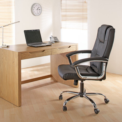 Alphason Houston Executive Chair Leather High Back Black - Weight Tolerance: 114kg Additional Image 5