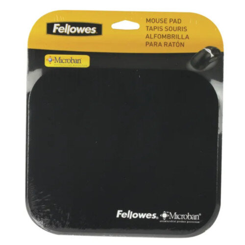 Fellowes Microban Mousepad - Non Slip Backing, Antibacterial, 3mm Thickness, Suitable for Optical and Laser Mice - Colour: Black