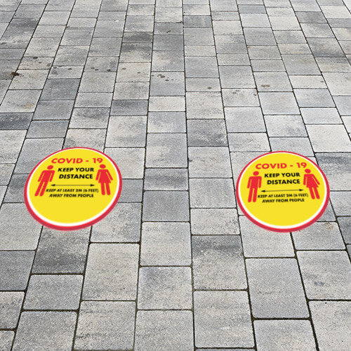 Keep Your Distance 2 meters Circle Sign 420mm Pack 10  Additional Image 1