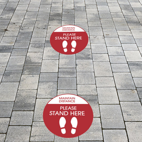 Maintain Distance Please Stand Here Circle Floor Sign 420mm Pack 10 Additional Image 1