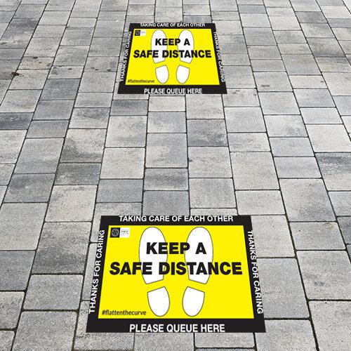 Safe Distance Public Health Floor Sign 450x 300mm Additional Image 1