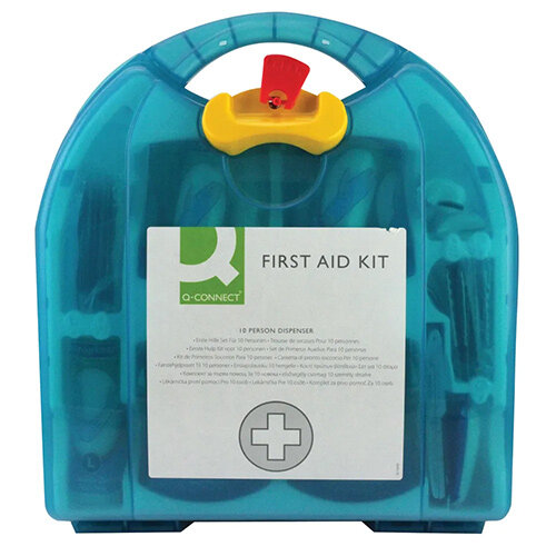 Q-Connect Multi-Purpose First Aid Kit – Caters Up To 10 People, Plastic, Hardwearing, Durable, Wall-Mountable, HSA Approved & Carry Handle (1002451) Additional Image 1