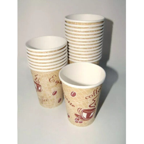 Hot Drink Cafe Disposable Single Wall Paper Cups 12oz/350ml [Pack of 50] R2GO Additional Image 2