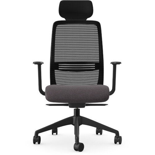 NV Posture Office Chair with Contoured Mesh Back and Adjustable Lumbar Support & Headrest Black Frame Grey Seat Additional Image 2