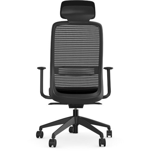 NV Posture Office Chair with Contoured Mesh Back and Adjustable Lumbar Support & Headrest Black Frame Grey Seat Additional Image 3