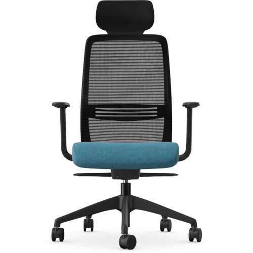 NV Posture Office Chair with Contoured Mesh Back and Adjustable Lumbar Support & Headrest Black Frame Light Blue Seat Additional Image 3