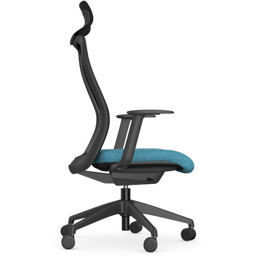 NV Posture Office Chair with Contoured Mesh Back and Adjustable Lumbar Support & Headrest Black Frame Light Blue Seat Additional Image 4