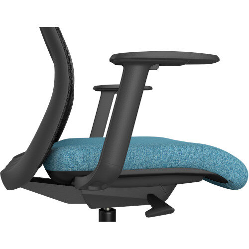 NV Posture Office Chair with Contoured Mesh Back and Adjustable Lumbar Support & Headrest Black Frame Light Blue Seat Additional Image 5