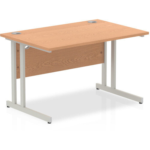 Rectangular Desk Oak with Silver Double Cantilever Legs 1200mm Width x 800mm Depth Additional Image 1