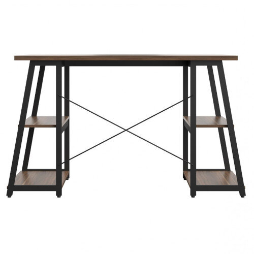 Soho Odell Home Office Desk Walnut Desktop & Black Metal Frame W1200xD600xH770mm Additional Image 2