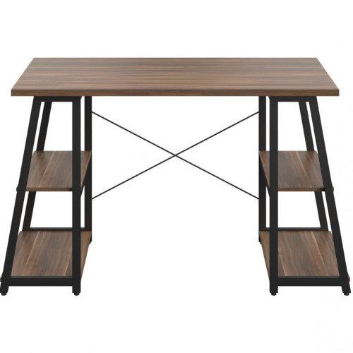 Soho Odell Home Office Desk Walnut Desktop & Black Metal Frame W1200xD600xH770mm Additional Image 4