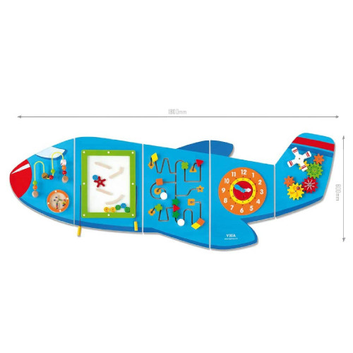 Multifunctional Aeroplane Wall Toy - 1800 x 662 x 50 mm - Educational, Learning and Sensory Toy at HuntOffice.ie