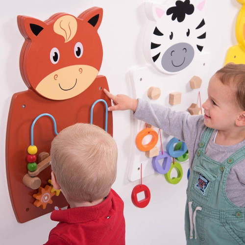 Wall Toy - Wire Beads & Gears/Horse - Educational Toy - Learn Hand-Eye Co-Ordination, Problem-solving Skills - 60x550x55 mm (L x H x W) at HuntOffice.ie