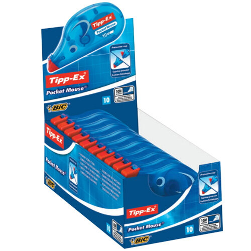 Tippex Pocket Mouse Correction Tape Roller 4.2mmx10m Pack 10