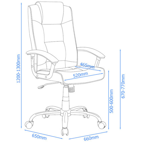 Alphason Houston Executive Chair Leather High Back Black - Weight Tolerance: 114kg Additional Image 6