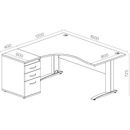 Radial Office Desk Left Hand With 600mm Desk-High Pedestal In White. Komo Range Bundle. Bundle Deal Includes Desk & Desk High Pedestal. Assembly Required. Additional Image 2