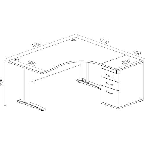 Radial Office Desk Right Hand With 600mm Desk-High Pedestal W1600xD1600xH725mm White Komo Additional Image 2