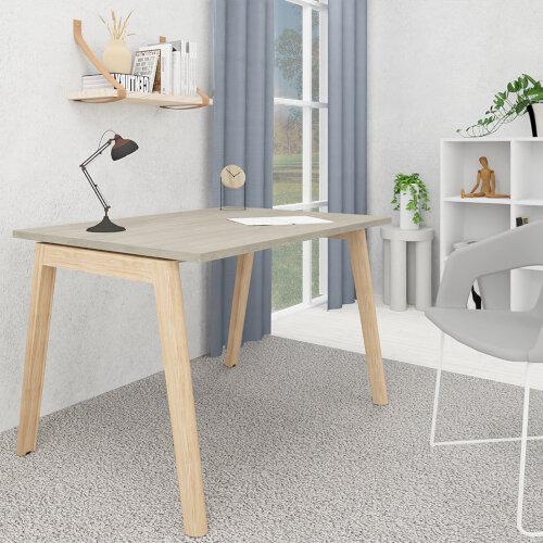 Nova Wood Home Office Desk Grey Desktop & Solid Ash Legs W1200xD700mm Additional Image 1