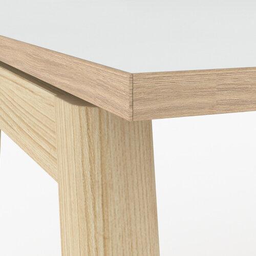 Nova Wood Home Office Desk White Desktop with Oak Edging & Solid Ash Legs W1200xD700mm Additional Image 3