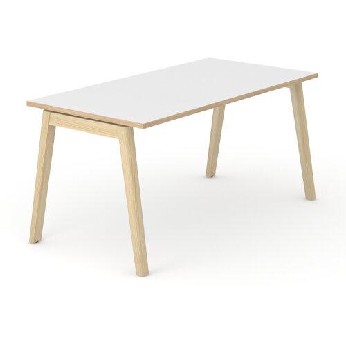 Nova Wood Home Office Desk White Desktop with Oak Edging & Solid Ash Legs W1200xD700mm Additional Image 2