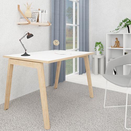 Nova Wood Home Office Desk White Desktop with Oak Edging & Solid Ash Legs W1200xD700mm Additional Image 1