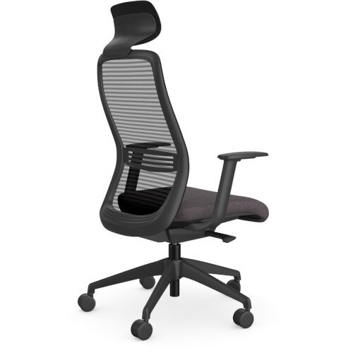 NV Posture Office Chair with Contoured Mesh Back and Adjustable Lumbar Support & Headrest Black Frame Grey Seat Additional Image 1