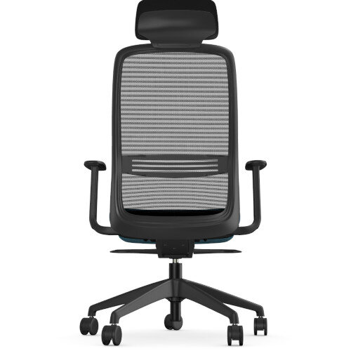 NV Posture Office Chair with Contoured Mesh Back and Adjustable Lumbar Support & Headrest Black Frame Light Blue Seat Additional Image 2