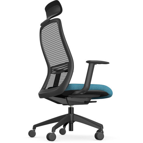 NV Posture Office Chair with Contoured Mesh Back and Adjustable Lumbar Support & Headrest Black Frame Light Blue Seat Additional Image 1