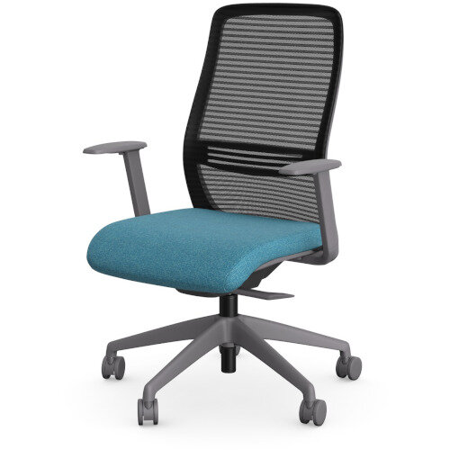 NV Posture Office Chair with Contoured Mesh Back and Adjustable Lumbar Support Grey Frame Light Blue Seat Additional Image 1