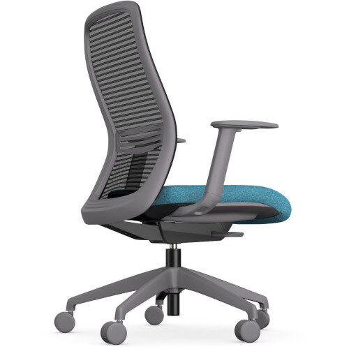 NV Posture Office Chair with Contoured Mesh Back and Adjustable Lumbar Support Grey Frame Light Blue Seat Additional Image 2