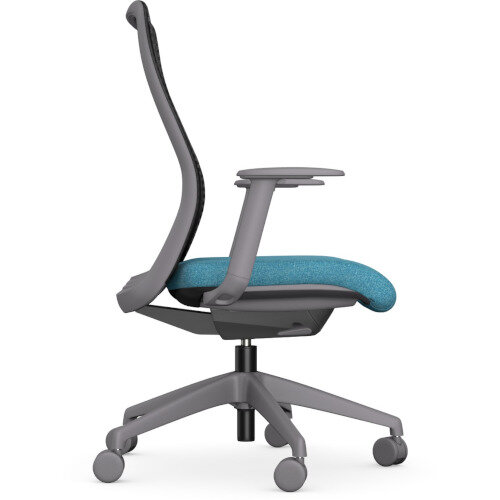 NV Posture Office Chair with Contoured Mesh Back and Adjustable Lumbar Support Grey Frame Light Blue Seat Additional Image 4