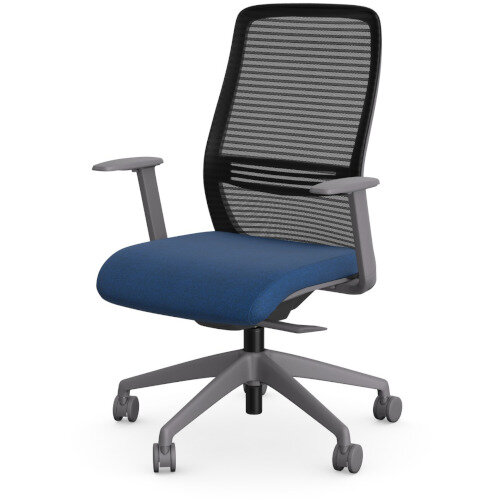 NV Posture Office Chair with Contoured Mesh Back and Adjustable Lumbar Support Grey Frame Navy Blue Seat Additional Image 2