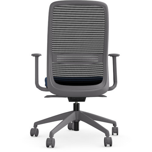 NV Posture Office Chair with Contoured Mesh Back and Adjustable Lumbar Support Grey Frame Navy Blue Seat Additional Image 3