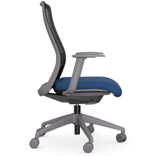 NV Posture Office Chair with Contoured Mesh Back and Adjustable Lumbar Support Grey Frame Navy Blue Seat Additional Image 4