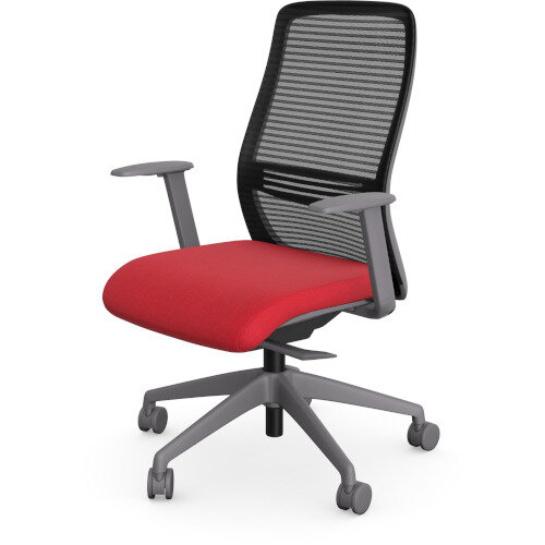 NV Posture Office Chair with Contoured Mesh Back and Adjustable Lumbar Support Grey Frame Red Seat Additional Image 1