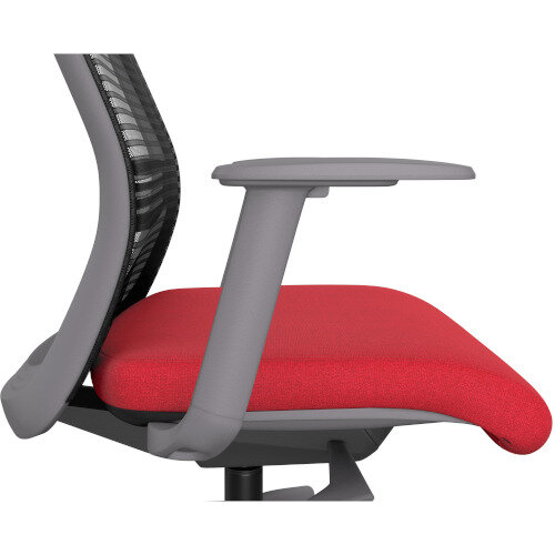 NV Posture Office Chair with Contoured Mesh Back and Adjustable Lumbar Support Grey Frame Red Seat Additional Image 4
