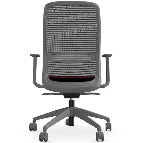 NV Posture Office Chair with Contoured Mesh Back and Adjustable Lumbar Support Grey Frame Red Seat Additional Image 5