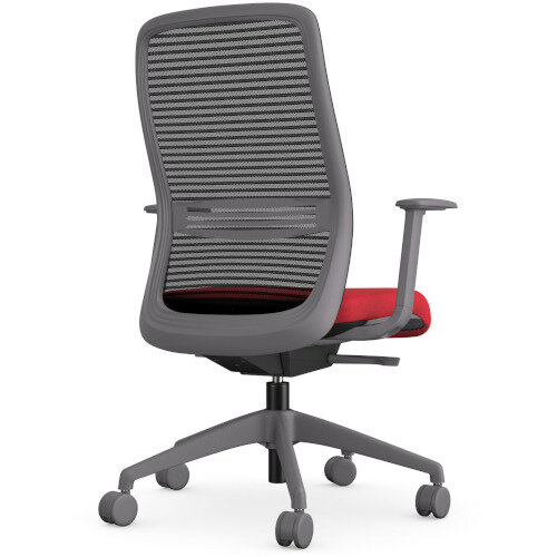 NV Posture Office Chair with Contoured Mesh Back and Adjustable Lumbar Support Grey Frame Red Seat Additional Image 2