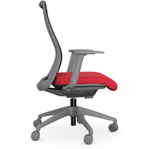 NV Posture Office Chair with Contoured Mesh Back and Adjustable Lumbar Support Grey Frame Red Seat Additional Image 3