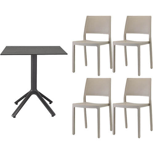 Kate Dining Set Anthracite Table & 4 Dove Grey Chairs - Suitable For Indoor & Outdoor Use Additional Image 1