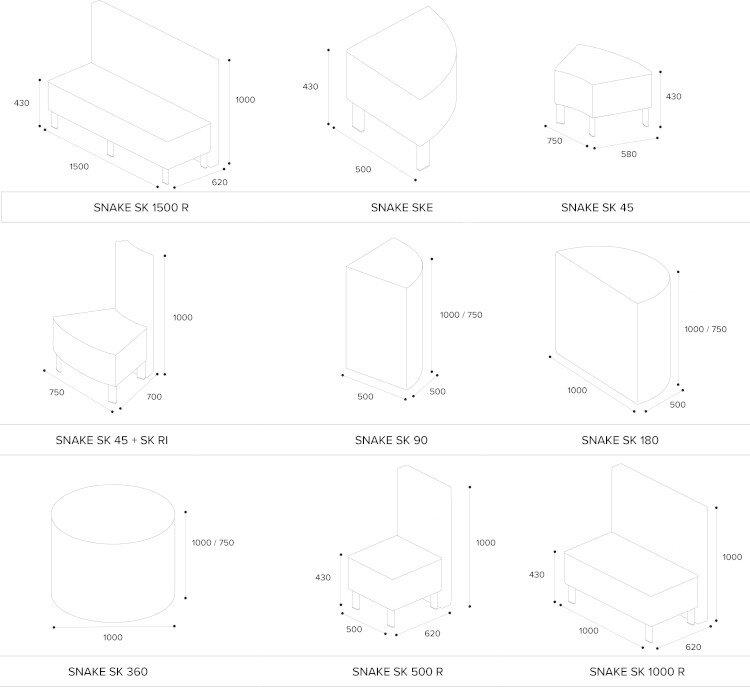 SNAKE Modular Soft Seating Range Modules Dimensions