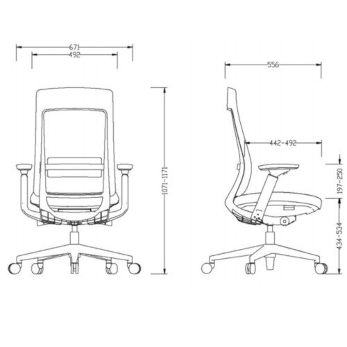 X.22 Posture Office Chair with Unique Mesh Back And Adjustable Lumbar Support Black Additional Image 7