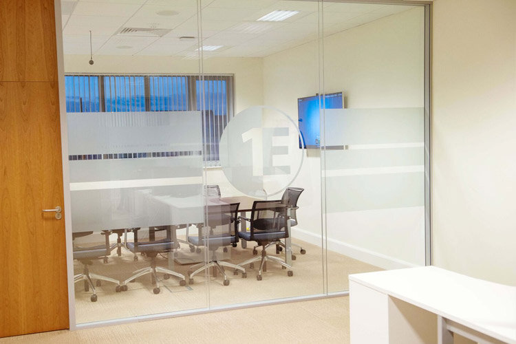 ... 1e Boardroom Glazed Partition With Frosted Window Film 1e Logo Design