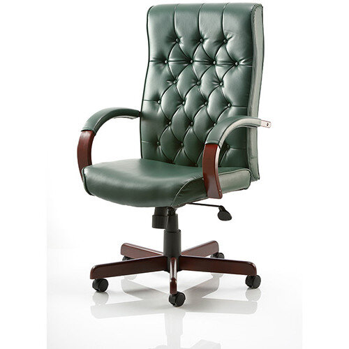 Exceptionnel Chesterfield Executive Office Chair In Green Leather ...