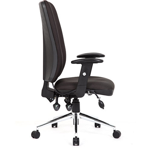 Chiro High Back Task Operators Office Chair Black With Arms 24 7 Task Usage Adjustable Pump Up Lumbar Height Adjustable Back Rest 3 Lever Mechanism Gas Lift Tested Up To 150kg Hunt Office Ireland